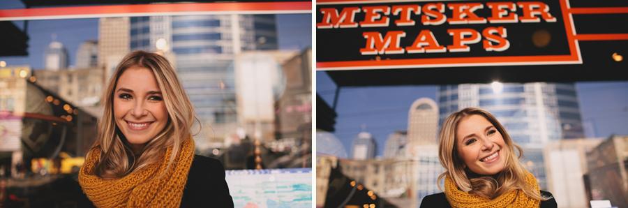 girl portrait in front of metsker maps seattle
