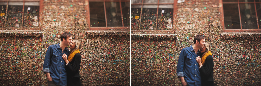 couple engagement session at gum wall seattle