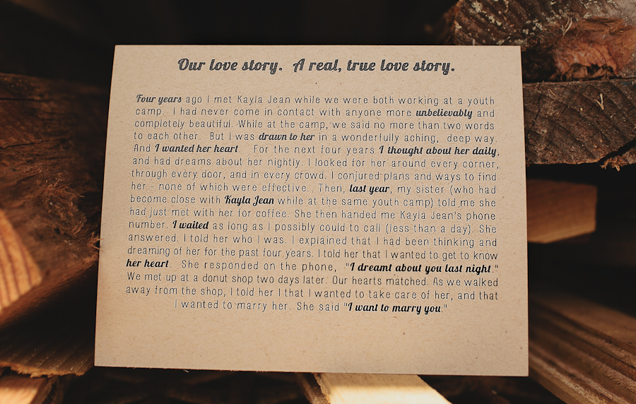 Love Story on cardboard stationary